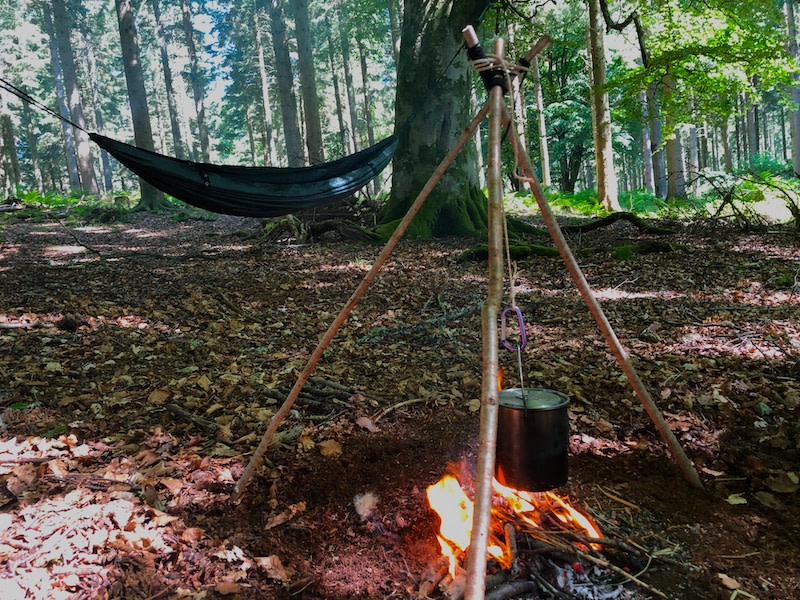 Camp with fire and hammock